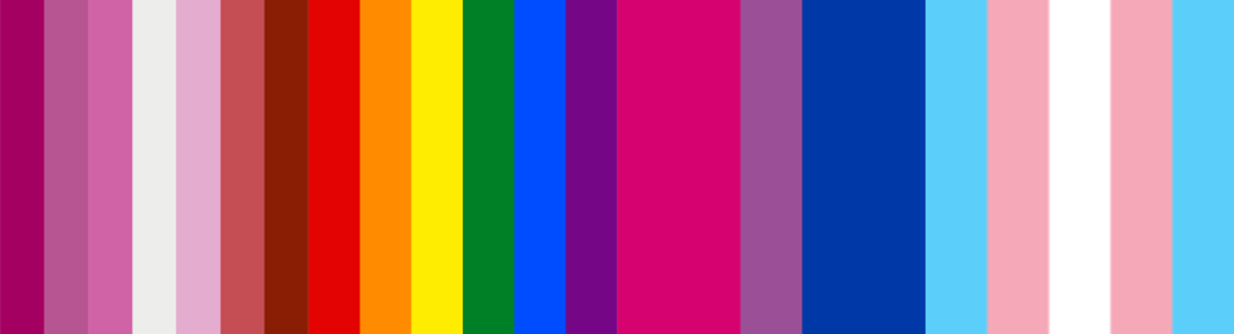 Combination of different pride flags including rainbow, trans, bisexual, and asexual pride
