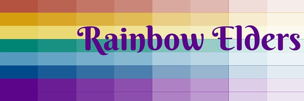 gradiet rainbow flag with the text rainbow elders in purple on the left
