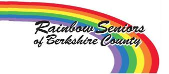 white background with rainbow arch spanning the image from upper left corner to bottom right with the text rainbow seniors of berkshire county in cursive writing