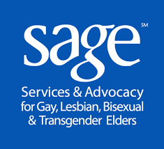 blue square with white text in the inside larger letters read SAGE then below are smaller words that read services and advocacy for gay, lesbian, bisexual, and transgender elders