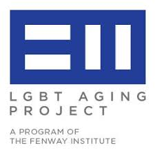 blue rectangle with white rectagles in the shapes of equal sign and sideways equal sign inside, below has gray text that reads LGBT aging project a program of the fenway institute